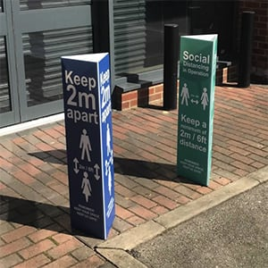 covid 19 bollard wrap outdoor signs